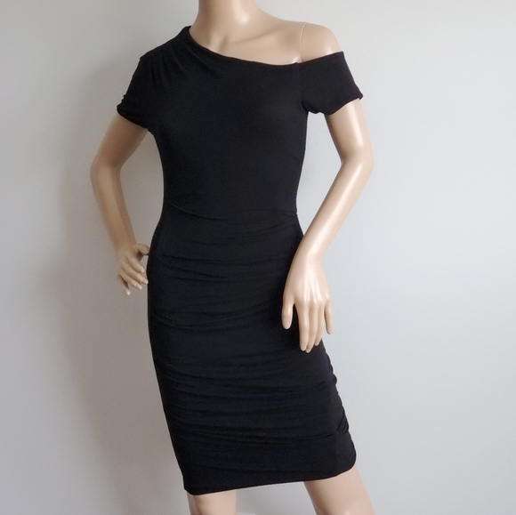 bebe Dresses & Skirts - BEBE BLACK ASYMMETRICAL STRETCH DRESS XS